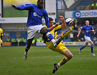 Photo: Tony Oudot/Richard Lane Photography. <br /> Millwall v Leeds United. Coca-Cola League One. 19/04/2008. <br /> Bas Savage of Millwall is tackled by Lubomir Michalik of Leeds