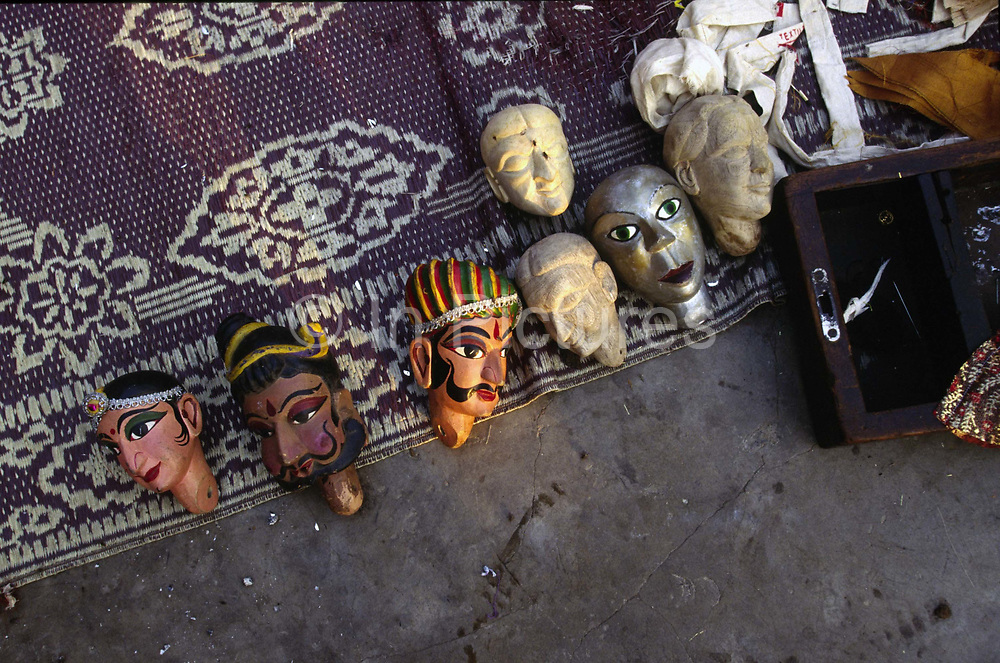 Puppet heads lie on the roof of a puppeteer in Shadipur<br /> The Kathiputli Colony in the Shadipur Depot slum is home to hundreds of (originally Rajasthani) performers. The artistes who live here - from magicians, acrobats, musicians, dancers and puppeteers are often international renowed by always return to the Shadipur slum.
