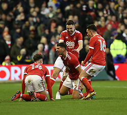 07 January 2018 FA Cup 3rd round Nottingham - Nottingham Forest v Arsenal - Eric Lichaj (2) celebrates the opening Forest goal with his team mates.<br /> (photo by Mark Leech)