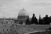 The dome of the rock, Jerusalem, Israel, black and white