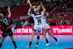 08-12-2019 JAP: Netherlands - Germany, Kumamoto<br /> First match Main Round Group1 at 24th IHF Women's Handball World Championship, Netherlands lost the first match against Germany with 23-25. / Kelly Dulfer #18 of Netherlands, Kim Naidzinavicius #15 of Germany