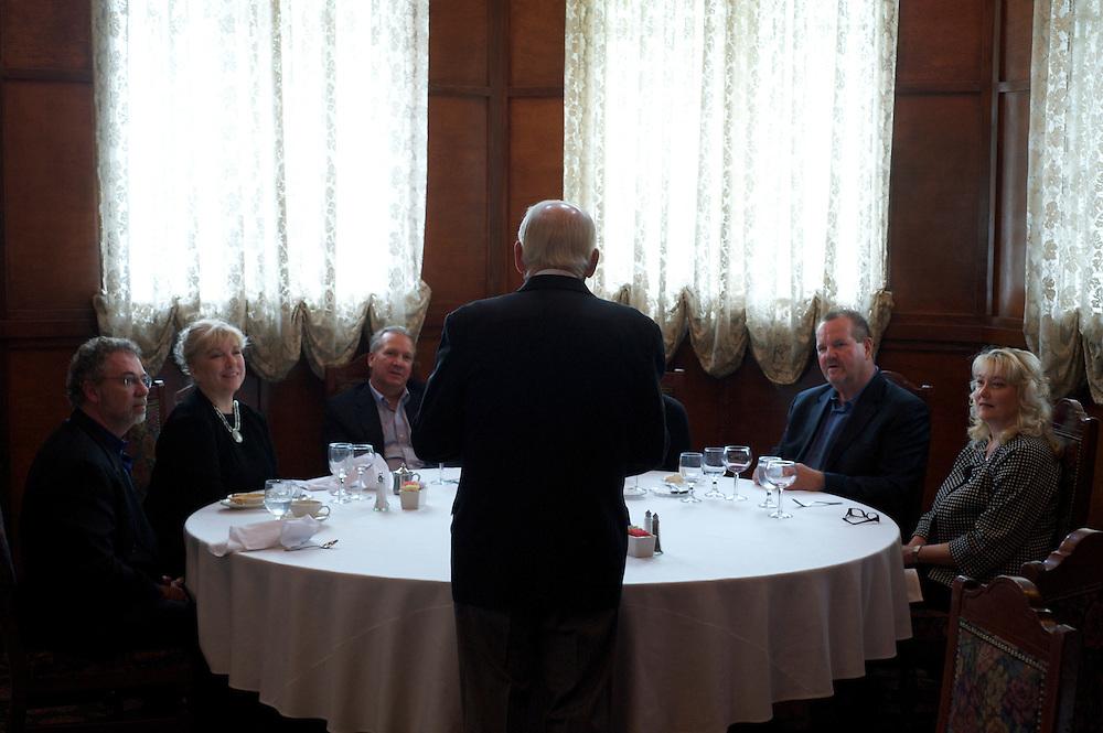 Nieuport 17 owner Bill Bettis greets diners at his five-star Tustin, CA restaurant.