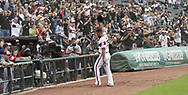 CHICAGO - SEPTEMBER 29:  Jose Abreu #79 of the Chicago White Sox acknowledges the fans after clinching the American League RBI title while leaving the game against the Detroit Tigers on September 29, 2019 at Guaranteed Rate Field in Chicago, Illinois.  (Photo by Ron Vesely)  Subject:   Jose Abreu