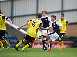 Raith Rovers Michael Megginson scoring their third goal. <br /> Raith Rovers 3 v 0 Livingston, SPFL Ladbrokes Premiership game played 8/8/2015 at Stark's Park.