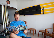 Expat surfer Brian Tobey relaxes between surfing sessions.
