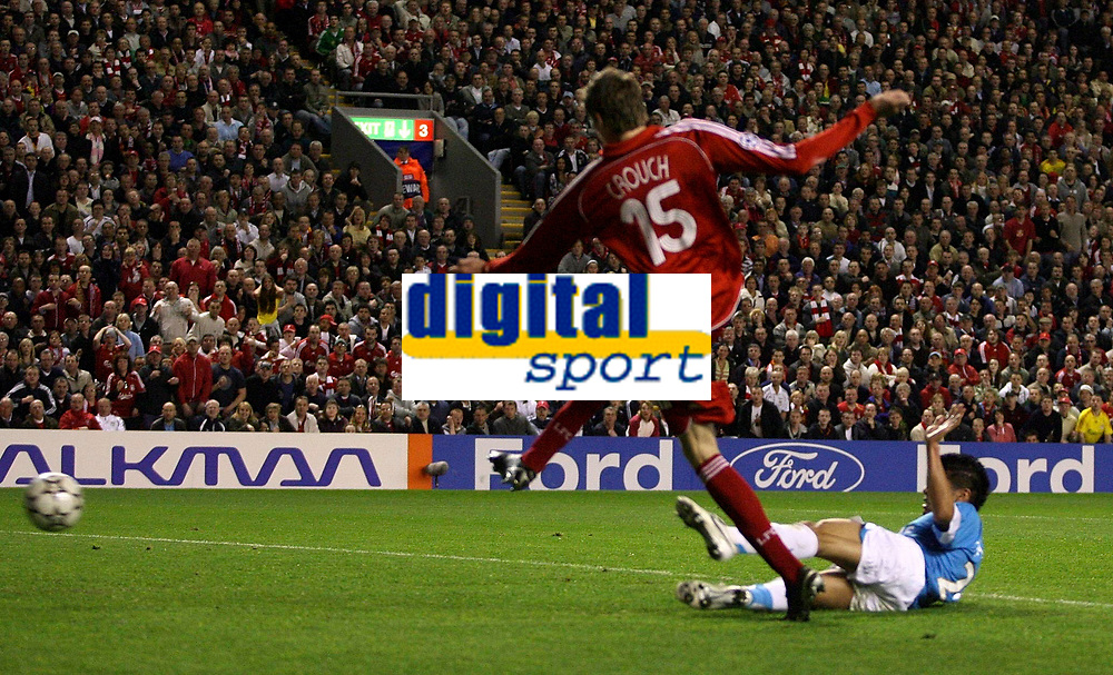 Photo: Paul Thomas.<br /> Liverpool v PSV Eindhoven. UEFA Champions League. Quarter Final, 2nd Leg. 11/04/2007.<br /> <br /> Peter Crouch (15) scores for Liverpool.