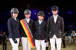 VISSCHER Janne (GER), SCHUMACHER Hanna (GER), GÖTTER Anne (GER), CARSTENSEN Niels (GER)<br /> Braunschweig - Löwenclassics 2019<br /> Siegerehrung<br /> Finale HGW Bundesnachwuchschampionat der Springreiter<br /> Stilspringprüfung mit Pferdewechsel<br /> 23. März 2019<br /> © www.sportfotos-lafrentz.de/Stefan Lafrentz
