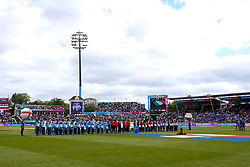 England and India line up for the national anthems at Edgbaston - Mandatory by-line: Robbie Stephenson/JMP - 30/06/2019 - CRICKET - Edgbaston - Birmingham, England - England v India - ICC Cricket World Cup 2019 - Group Stage