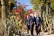 06 DECEMBER 2011 - PARADISE VALLEY, AZ: Dan Quayle (CQ) RIGHT and former Gov. Mitt Romney (CQ LEFT) walk to the podium Tuesday. Former Vice President Dan Quayle endorsed Republic Presidential hopeful Mitt Romney at the Hermosa Inn in Paradise Valley Tuesday.    PHOTO BY JACK KURTZ
