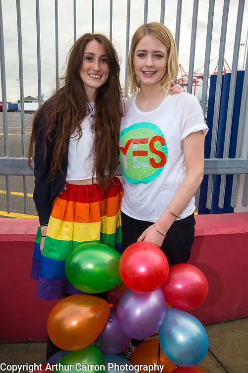 22/5/15 Hannah Little, Glasnevin and Leanne Keogh, Wicklow, members of the Irish LGBT community living in London arrive home at Dublin Port to vote in the Marraige Equality referendum. Picture: Arthur Carron
