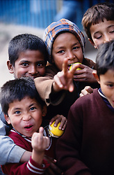 Children in the street of Kathmandu during the nation's Democracy Day.