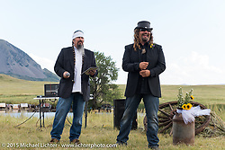 Jack Schit officiating at Heather and Chris Callen's Wedding at the Broken Spoke Camground during the 75th Annual Sturgis Black Hills Motorcycle Rally.  SD, USA.  August 8, 2015.  Photography ©2015 Michael Lichter.