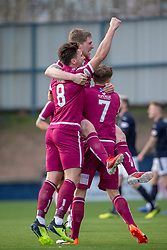 Arbroath's Colin Hamilton celebrates after scoring their goal. Raith Rovers 0 v 1 Arbroath. Scottish Football League Division One game played 16/2/2109 at Stark's Park.