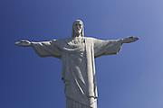 A close up looking up at Christ the redeemer, Rio de Janeiro, Brazil.