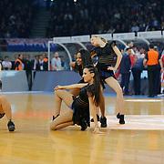 Anadolu Efes's show girls during their Turkish Airlines Euroleague Basketball Top 16 Round 5 match Anadolu Efes between Olympiacos Piraeus at Abdi ipekci arena in Istanbul, Turkey, Thursday January 29, 2015. Photo by Aykut AKICI/TURKPIX