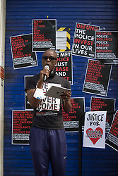 © Licensed to London News Pictures. 08/08/2020. London, UK. Black Lives Matter protestors outside Tottenham Police Station in north London. Photo credit: Marcin Nowak/LNP