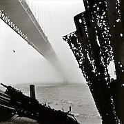 Golden Gate Bridge in fog, ca. 1948