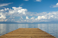 Scenic view of dock on Lake Tahoe, CA