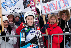 Katja Pozun with Supporters after the Normal Hill Individual Competition at FIS World Cup Ski jumping Ladies Ljubno 2012, on February 11, 2012 in Ljubno ob Savinji, Slovenia. (Photo By Vid Ponikvar / Sportida.com)