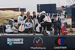 © Sander van der Borch.Alicante, 11 October 2008. Start of the Volvo Ocean Race. Team Delta Lloyd having a final chat before hoisting the mainsail before the start of the first leg of the 2008 VOR.