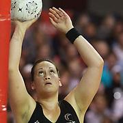 Cathrine Latu, New Zealand, in action during the New Zealand V England, New World International Netball Series, at the ILT Velodrome, Invercargill, New Zealand. 6th October 2011. Photo Tim Clayton...