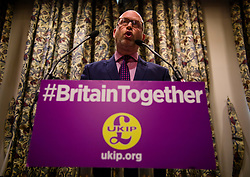 © Licensed to London News Pictures. 03/05/2017. London, UK. UKIP party leader PAUL NUTTALL attends a party policy announcement in Westminster, London, ahead of a general election on June 8. Photo credit: Ben Cawthra/LNP
