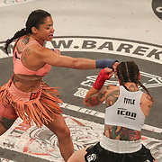 HOLLYWOOD, FL - JUNE 27: Pearl Gonzalez punches Charisa Sigala during the Bare Knuckle Fighting Championships at the Seminole Hard Rock & Casino on June 27, 2021 in Hollywood, Florida. (Photo by Alex Menendez/Getty Images) *** Local Caption *** Pearl Gonzalez; Charisa Sigala