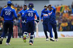 July 8, 2017 - Mahinda, Sri Lanka - Sri Lanka's Wanidu Hasaranga celebrates with his team mates ..Sri Lankan/Zimbabwe cricketer during the 4th One Day International cricket matcth between Sri Lanka and Zimbabwe at ..Mahinda Rajapaksa International Cricket Stadium, (southern part of Sri Lanka) at Hambantota, ..Sri Lanka on Saturday 8 th July 2017  (Credit Image: © Tharaka Basnayaka/NurPhoto via ZUMA Press)