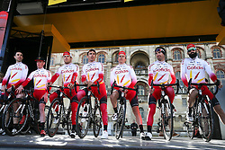 March 10, 2019 - Paris, Ile-de-France, France - Cofidis cycling team poses during the team's presentation at the start of the 138,5km 1st stage of the 77th Paris-Nice cycling race between Saint-Germain-en-Laye and Saint-Germain-en-Laye in the west suburb of Paris, France, on March 10, 2019. Whether leaders of a team or merely a team-mate, the riders on the Paris-Nice try to excel, either individually or as a team. According to the stage profiles, changes in the general standings or some unexpected circumstance during the race, each rider adapts his objectives to the situation. (Credit Image: © Michel Stoupak/NurPhoto via ZUMA Press)