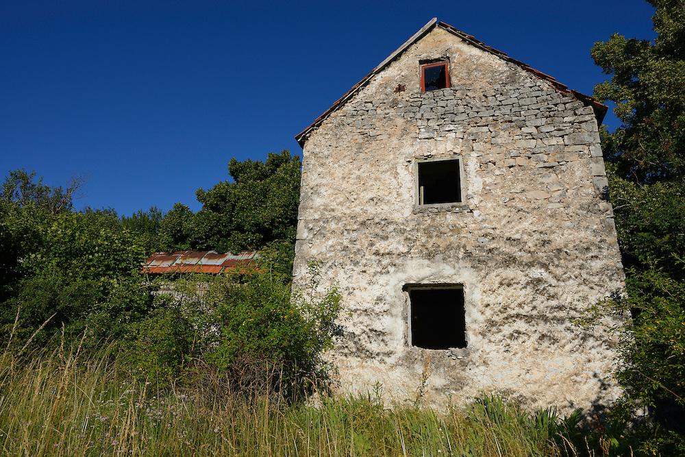 Abandoned farm houses, Zlatni Rog/Puskar area, Velebit Nature Park, Rewilding Europe rewilding area, Velebit  mountains, Croatia