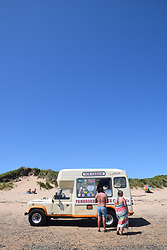 Ice cream van, South beach, Tenby, Pembrokeshire, South Wales July 2021