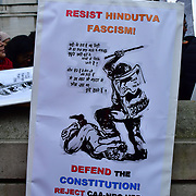 Hundreds protestors Against Fascism in Indiato Reject CAA-NRC-NPR!, on 25th Jamnuary 2020, London, UK