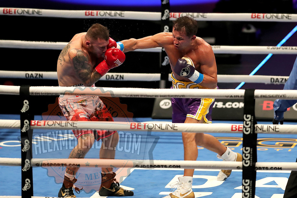 Gennady Golovkin of Khazakhstan punches Kamil Szeremeta of Poland during the IBF middleweight world title fight at the Seminole Hard Rock Hotel and Casino in Hollywood, Florida USA on 18, Dec 2020. Photo: Alex Menendez