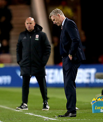 Sunderland manager David Moyes cuts a dejected figure during the defeat to Middlesbrough - Mandatory by-line: Robbie Stephenson/JMP - 26/04/2017 - FOOTBALL - Riverside Stadium - Middlesbrough, England - Middlesbrough v Sunderland - Premier League