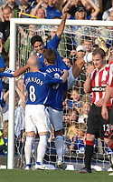 Photo: Paul Greenwood.<br />Everton v Sheffield United. The Barclays Premiership. 21/10/2006. Tim Cahill, centre, celebrates with Everton scorer James Beattie and Andy Johnson.