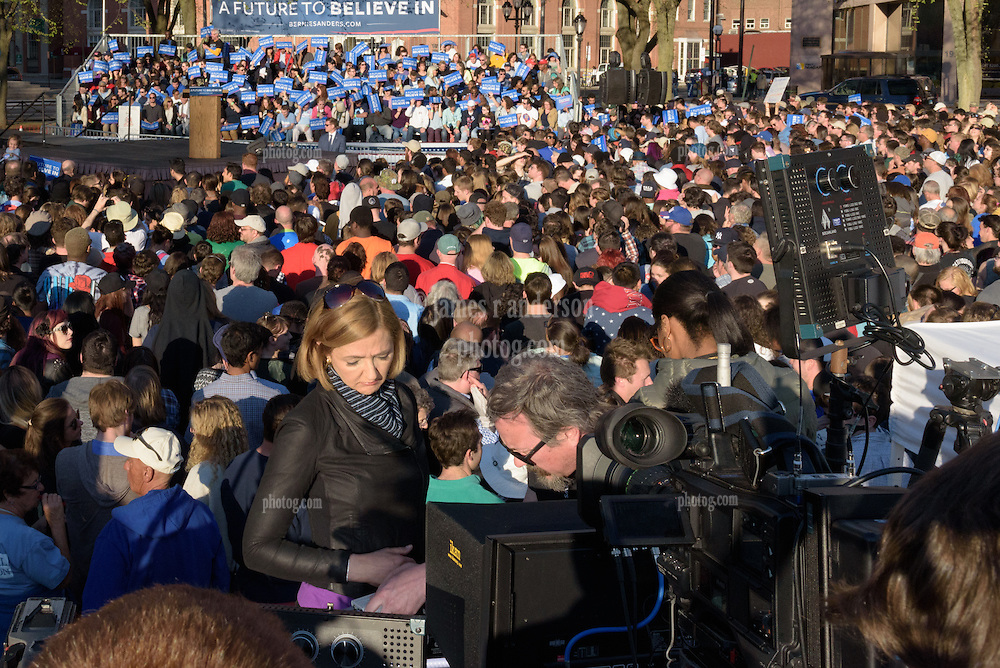 Chris Jansing of NBC News getting ready for a bullshit report at the Bernie Sanders Rally New Haven CT on 24 April 2016