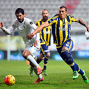 Fenerbahce's Fernandao (R) during their Turkish Super League soccer match Akhisar Belediye Genclik Spor between Fenerbahce at the 19 Mayis Stadium in Manisa Turkey on Sunday, 06 March 2016. Photo by TURKPIX