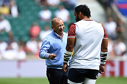 England Rugby Head Coach Eddie Jones speaks with Billy Vunipola during the pre-match warm-up - Mandatory byline: Patrick Khachfe/JMP - 07966 386802 - 11/08/2019 - RUGBY UNION - Twickenham Stadium - London, England - England v Wales - Quilter International
