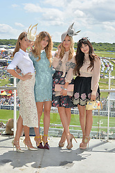 Left to right, MILLIE MACKINTOSH, WHINNIE WILLIAMS, LAURA WHITMORE and ZARA MARTIN at the Investec Derby 2015 at Epsom Racecourse, Epsom, Surrey on 6th June 2015.