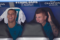 Real Madrid's Lucas Vazquez and Toni Kroos during UEFA Champions League match between Real Madrid and Apoel at Santiago Bernabeu Stadium in Madrid, Spain September 13, 2017. (ALTERPHOTOS/Borja B.Hojas)
