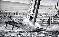 September 18th 2011, AC45 World Series Plymouth. Big day for the crew on Artemis Racing today. After a collision with GreenComm at the start where they suffered considerable damage to the starboard bow they nearly capsized after rounding the reaching mark bearing downwind. At the last run to the finnish they nearly capsized again and it looked like they could save it, but finally they went over. One crew member fell trough the wing.