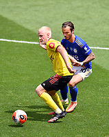 Football - 2019 / 2020 Premier League - Watford vs. Leicester City<br /> <br /> Watford's Will Hughes holds off the challenge from Leicester City's James Maddison, at Vicarage Road.<br /> <br /> COLORSPORT/ASHLEY WESTERN