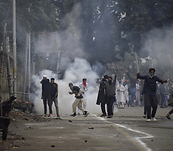 June 16, 2018 - Anantnag, Jammu and Kashmir, India - Clashes Erupted between protesters and Government forces at Janglat Mandi Anantnag after Eid Ul Fitr Prayers. one civilian killed and many others were injured by Government forces in clashes. (Credit Image: © Zafar Dar/Pacific Press via ZUMA Wire)