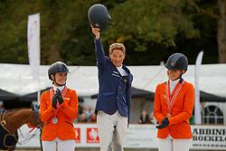 Podium NK, Lips Tim, Naber-Lozeman Alice, De Jong Sanne, NED<br /> CCI 3* Boekelo 2017<br /> © Dirk Caremans<br /> 08/10/2017