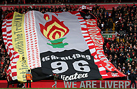 Football - 2018 / 2019 Premier League - Liverpool vs. Chelsea<br /> <br /> Banners commemorating the 96 victims of the Hillsborough disaster on display on the Kop, at Anfield.<br /> <br /> COLORSPORT/PAUL GREENWOOD