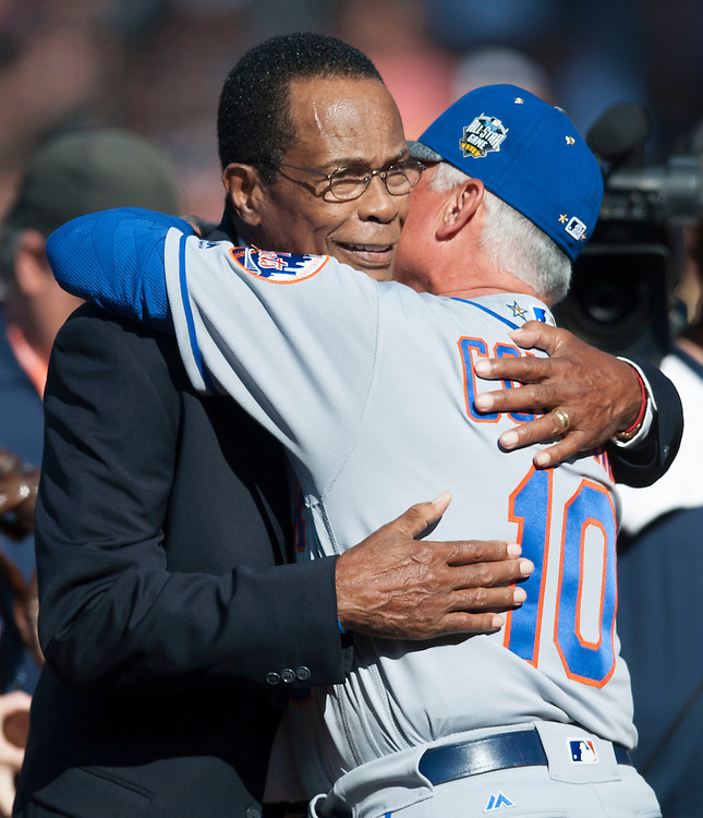 Rod Carew gets a hug from Mets' Manager Terry Collins before the 2016 MLB All-Star Game at Petco Park in San Diego on Tuesday.<br /> <br /> ///ADDITIONAL INFO:   <br /> <br /> allstar.0713.kjs  ---  Photo by KEVIN SULLIVAN / Orange County Register  -- 7/12/16<br /> <br /> The 2016 MLB All-Star Game at Petco Park in San Diego.