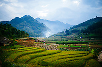 A small rice farming village sits in a valley near Lao Chai in northern Vietnam.