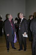 John Wonnacott and Charles Saumeraz-Smith, Hogarth private view and dinner. Tate Britain. London. 5 February 2007.  -DO NOT ARCHIVE-© Copyright Photograph by Dafydd Jones. 248 Clapham Rd. London SW9 0PZ. Tel 0207 820 0771. www.dafjones.com.