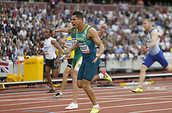 Brazil's Mateus Evangelista Cardoso (centre) wins the Men's 100m T37 Final during day seven of the 2017 World Para Athletics Championships at London Stadium. PRESS ASSOCIATION Photo. Picture date: Thursday July 20, 2017. See PA story ATHLETICS Para. Photo credit should read: Paul Harding/PA Wire. RESTRICTIONS: Editorial use only. No transmission of sound or moving images and no video simulation.
