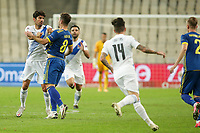 ATHENS, GREECE - OCTOBER 14: Tension between players during the UEFA Nations League group stage match between Greece and Kosovo at OACA Spyros Louis on October 14, 2020 in Athens, Greece. (Photo by MB Media)